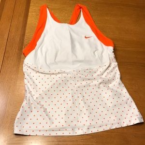 Nike tennis tank, orange and white, S